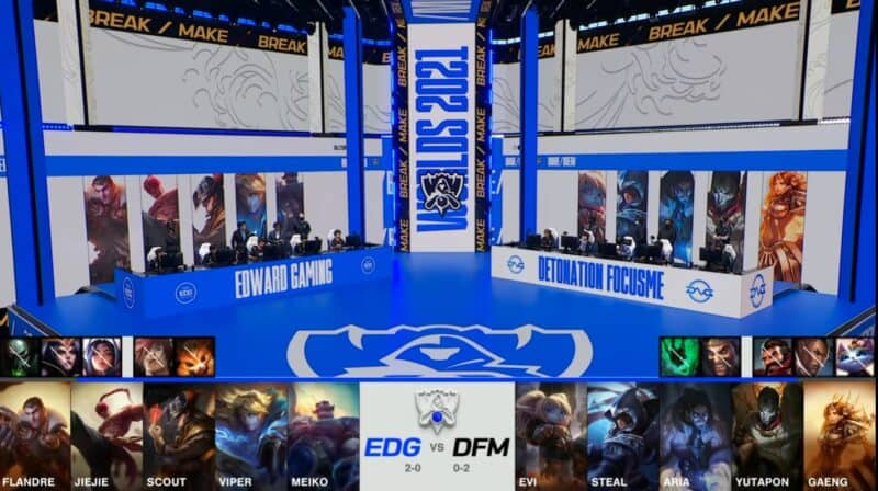 A screenshot from the 2021 World Championship Main Event Group Stage broadcast, showing the champion drafts between Edward Gaming and DetonatioN FocusMe with a shot of EDG and DFM on the Worlds 2021 stage above.