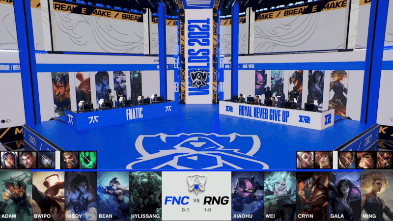 A screenshot from the 2021 World Championship Main Event Group Stage broadcast, showing the champion drafts between Fnatic and Royal Never Give Up with a shot of Fnatic and RNG on the Worlds 2021 stage above.