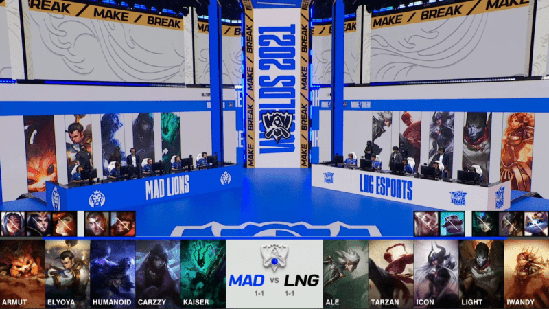 A screenshot from the 2021 World Championship Main Event Group Stage broadcast, showing the champion drafts between MAD Lions and LNG Esports with a shot of MAD and LNG on the Worlds 2021 stage above.
