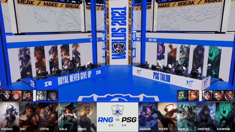 A screenshot from the 2021 World Championship Main Event Group Stage broadcast, showing the champion drafts between Royal Never Give Up and PSG.Talon with a shot of RNG and PSG on the Worlds 2021 stage above.