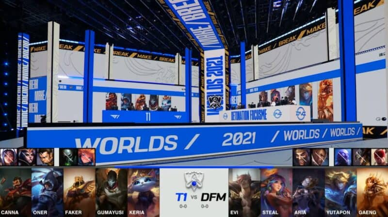 A screenshot from the 2021 World Championship Main Event Group Stage broadcast, showing the champion drafts between DetonatioN FocusMe and T1 with a shot of T1 and DFM on the Worlds 2021 stage above.
