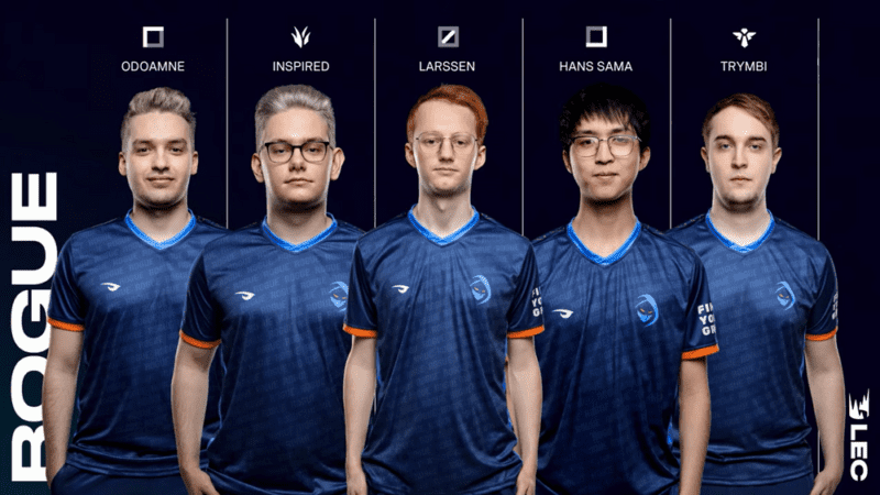 The Rogue LEC team of Odoamne, Inspired, Larssen, Hans Sama and Trymbi stand together with their name and LoL roles above their heads.