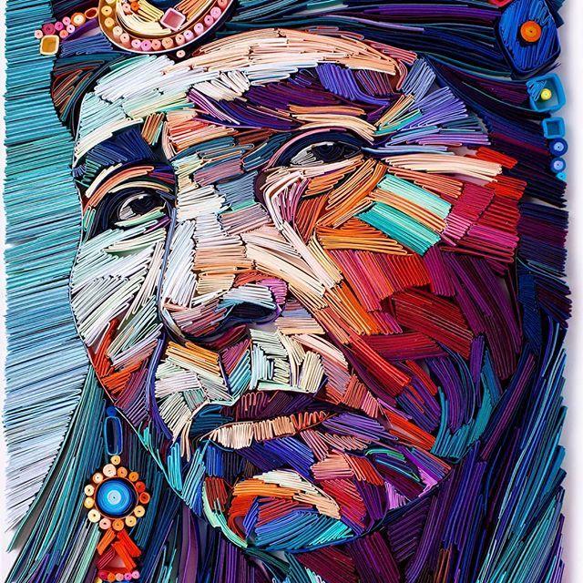 Coloridos retratos con papel doblado de Yulia Brodskaya