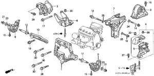Honda online store : 1998 civic at engine mount parts