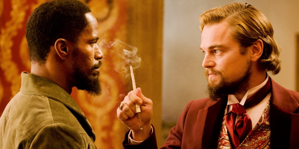 Leonardo DiCaprio as Calvin Candie and Jamie Foxx as Django in Django Unchained