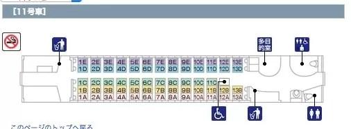11号車の特殊なシートマップ