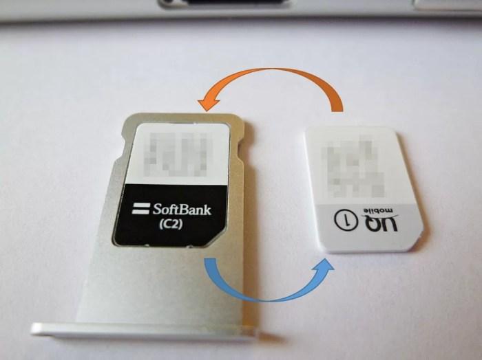 SoftBankのSIMとUQモバイルのSIMを入れ替える