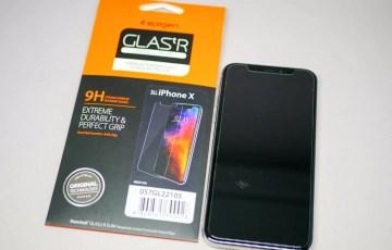 【Spigen】 iPhone X ガラスフィルムGLAS.tR SLIM
