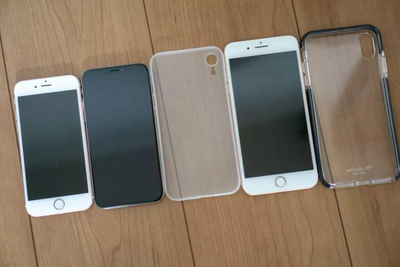 iPhone 6以降iPhone XS Maxまでのサイズ比較