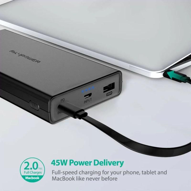 45W出力に対応するモバイルバッテリー