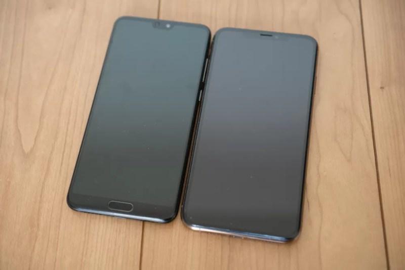 左がHUAWEI P20 Pro、右がiPhone XS Max