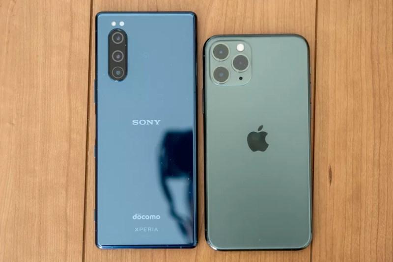 iPhone 11 ProとXperia 5の比較背面