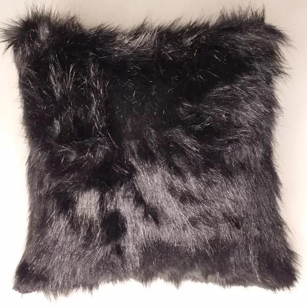 black fluffy fur cushion 40 40 cm