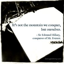"""It's not the mountain we conquer, but ourselves."" - Sir Edmund Hillary, conqueror of Mt. Everest."