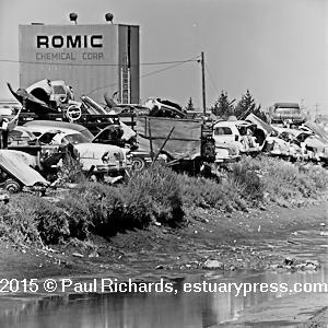 Auto wrecking yard filling San Francisco Bay, 1969