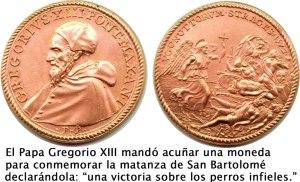 Monedas del papa Gregorio para conmemorar matanza de San Bartolomé