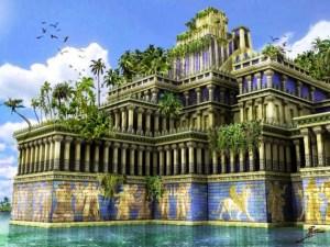Las murallas de Babilonia rodeadas por un foso de agua.
