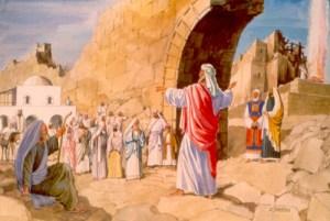 El profeta Hageo predicando al pueblo de Israel.