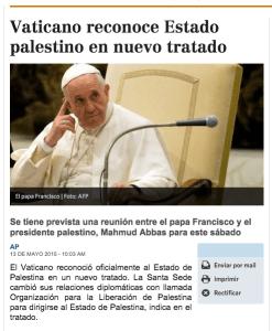Vaticano reconoce estado de Palestina en nuevo tratado (anunciando que tiene poder político)