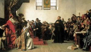Martín Lutero comparece ante la Dieta en Worms.