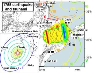 El gran terremoto y tsunami de 1755.