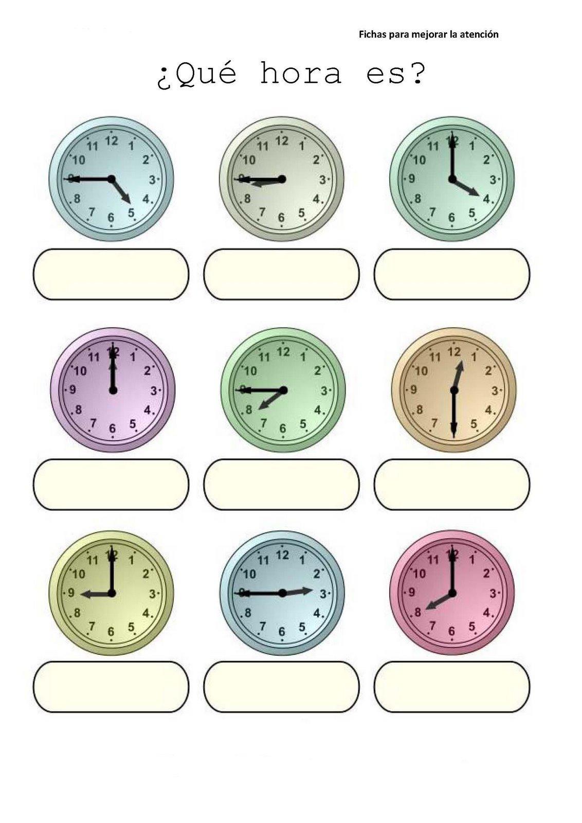 Fichas De Las Horas Del Reloj