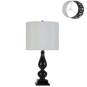 turner lacquer lamp with printed shade