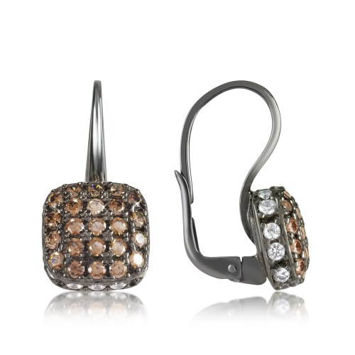 Cubic zirconia and Sterling Silver Square Earrings, $219