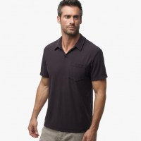 James Perse Cotton Linen Pocket Polo Shirt Carbon, $135