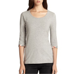 Burberry Cotton Check Cuff Top Pale Grey, $125