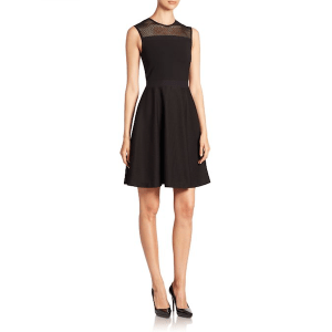 Burberry Mesh Detail Fit & Flare Dress Side, $1,095