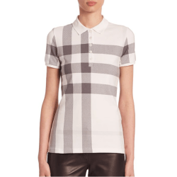 Burberry Stretch Cotton Check Polo, $250