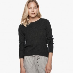James Perse Cashmere Thermal Crew Neck Anthracite, $350