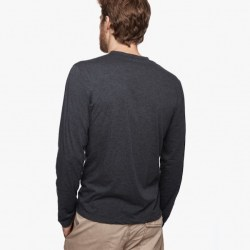 James Perse Cotton Cashmere Henley Back Heather Navy,$135