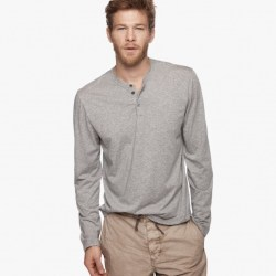 James Perse Cotton Cashmere Henley Heather Grey, $135