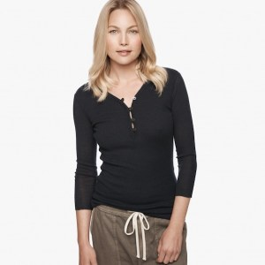 James Perse Cotton Cashmere Rib Henley Deep $165