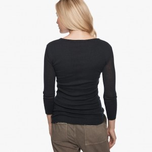 James Perse Cotton Cashmere Rib Henley Deep Back, $165