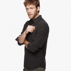 James Perse Lightweight Moleskin Shirt Carbon Pigment Side, $225