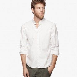 James Perse Lightweight Moleskin Shirt Talc Pigment, $225