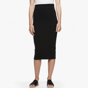 James Perse Melange Rib Pencil Skirt Black, $195