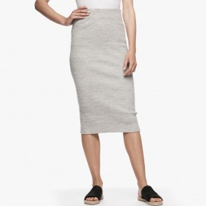 James Perse Melange Rib Pencil Skirt Heather Grey, $195