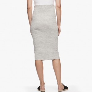 James Perse Melange Rib Pencil Skirt Heather Grey Back, $195