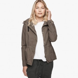 James Perse Shrunken Ripstop Parka Open, $595