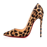 Christian Louboutin Leopard Print Satin Pumps Side, $695