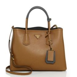 Prada Medium Bicolor Leather Satchel Caramel, $2,780