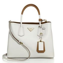 Prada Medium Bicolor Leather Satchel White, $2780
