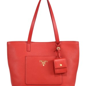 Prada Daino Leather Open Tote Red $1,390