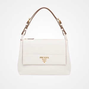 Prada Diano Leather Flap Shoulder Bag White $2,090