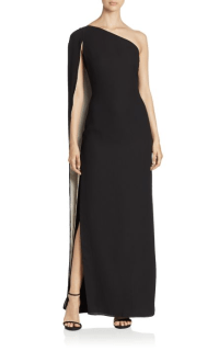 Halston Heritage One Shoulder Cape Gown $525