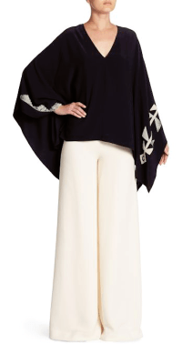 Ralph Lauren Collection Filipa Poncho, $1990; Charmain Silk Pants, $1690